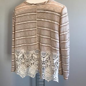 Altar'd State Ivory Sweater Blouse with Lace Back